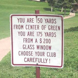 golf funny warning sign