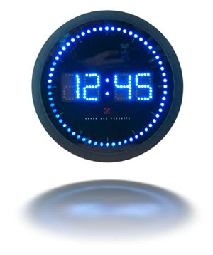 BLue dig clock with mirror image on white background