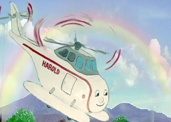Harold the helicopter is flying to the mountains picture