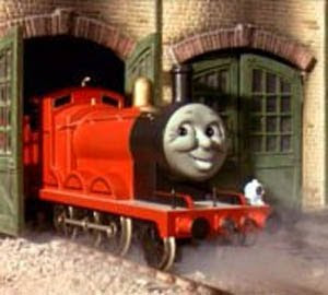 James the tank engine in the roundhouse shed.