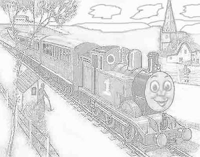 Sodor railway worker and Thomas tank engine coloring pages for kids to print out