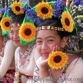 Filipina dance girl in beautiful rainbow cloth ethnic dress