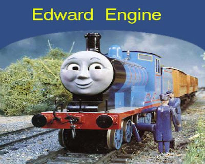 Thomas and friends train Edward blue engine with his steam train driver