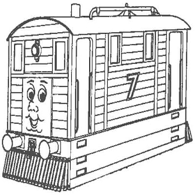 Island of Sodor engine number 7 tram Toby coloring pages for children
