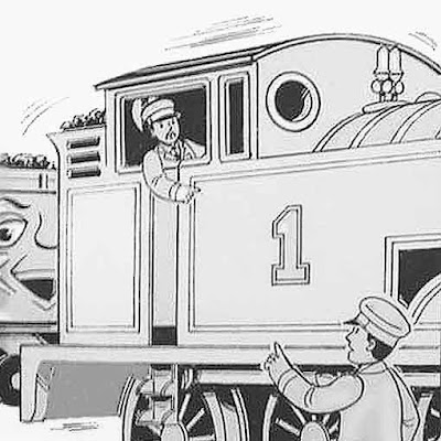 Two steam train engine drivers and a troublesome truck colouring picture printables