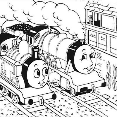 Friends Thomas and Henry the tank engines free colouring pages for kids