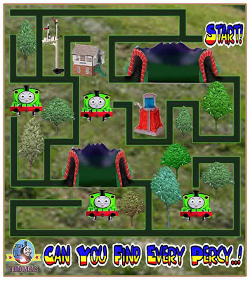 Percy the train and Thomas the tank engine games free online maze puzzle for children kindergarten