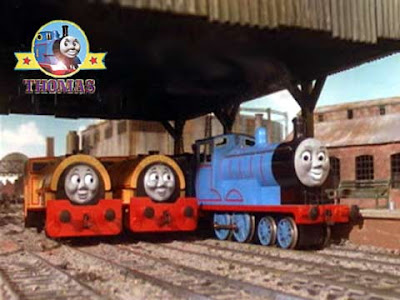 The tank engine Edward exploit day with characters Bill and Ben trains at Thomas station platform