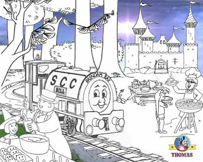 Free online Thomas coloring pages for kids arts and crafts with Thomas the tank engine Bill and Ben.