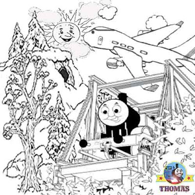 Blue choo choo train Thomas and Jeremy the jet plane coloring pages for kids to print out and paint
