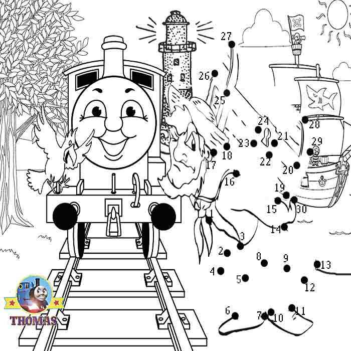 Download Free Fun Online Activities Thomas Pirate Dot To Seaside Colouring Pages For Youngsters