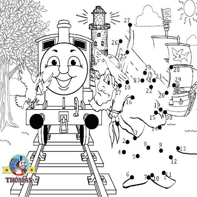Download free fun online activities Thomas pirate dot to dot seaside colouring pages for youngsters