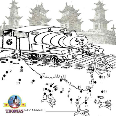 Free online kids printable dot to dot Thomas Percy and the dragon puzzle pictures to color and paint