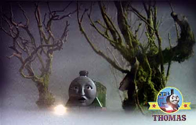 Haunted Henry the tank engine is spooked on a foggy ghost train ride rickety rackety old eerie line