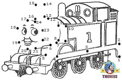 Play free online game Thomas the tank engine dot to dot for kids printable pre school work sheets