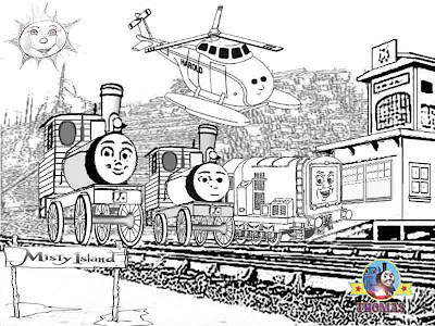 Bash and Dash Thomas and friends misty island rescue diesel 10 coloring pages for kids worksheets
