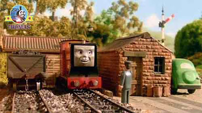 Sodor narrow gauge engine diesel Rusty the train told his rail driver about a plane too save the day
