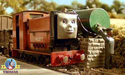 Thomas the tank engine story of Thomas Rusty to the rescue Rusty train saves the day on the railway