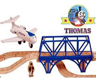 Sodor Airfield Jeremy Jet Plane character Thomas toy railway with wooded train tracks and airport