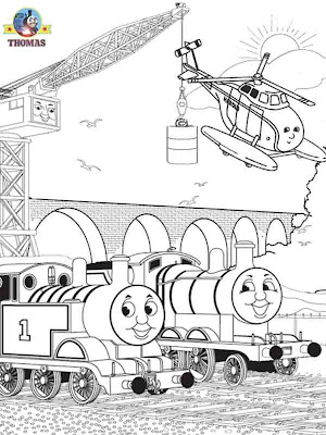 Fun cartoon Thomas and friends coloring pages characters James train Cranky crane Harold helicopter