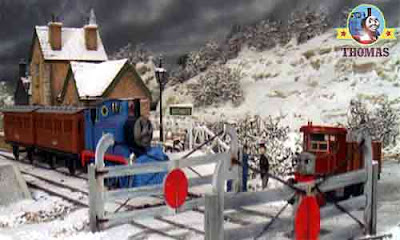 Thomas the train saw Sir Topham Hatt talking to Elizabeth lorry next to the level crossing guard hut