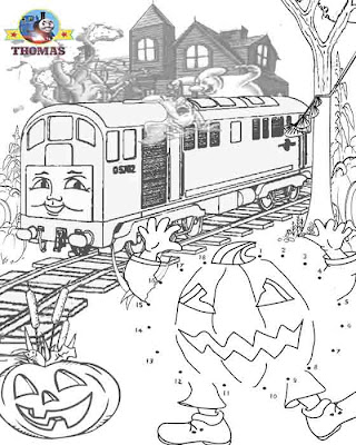 Thomas train Trick or Treat dot to dot Halloween printables for kids haunted house coloring pages