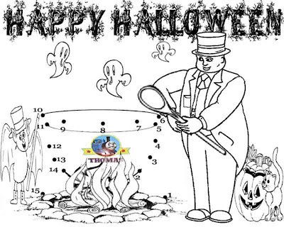 Activities Thomas train dot to dot Halloween printables for kids bat witch and ghost coloring pages