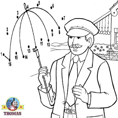 Train driver and Thomas the tank engine dot to dot printables for childrens educational activities