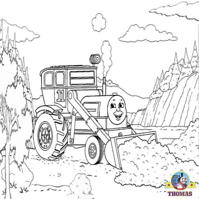 Thomas the tank engine coloring pages for kids with construction digger Jack jumps the front loader