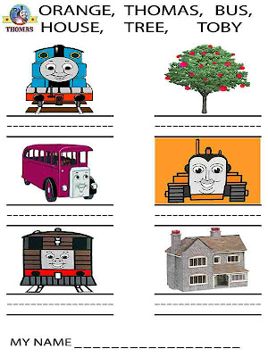 Fun online handwriting kindergarten printable worksheets for kids activities with Thomas and friends