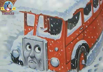 Pictures of Thomas the tank engine Bertie the Bus Christmas chilly cold winter day with heavy snow