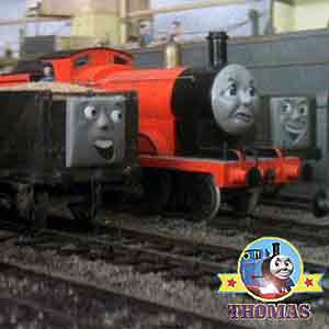 James the train arrived at the sea tugboat Sodor yards the nice summer weather had taken change