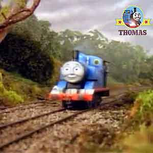 A friendly whistle sound hurray Thomas the train joyfully triumphed out James the tank engine drive