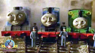 Big express Gordon Percy tank and all the railway of Sodor train engines noisily blow steam trumpets