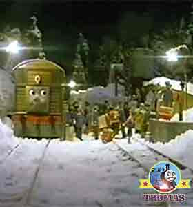 Frosty winter night locomotive tank engines Sodor roundhouse shed apart from train Toby the tram