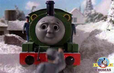 Little Percy the train making good time chilly voyage railway fog man holding a red light lantern