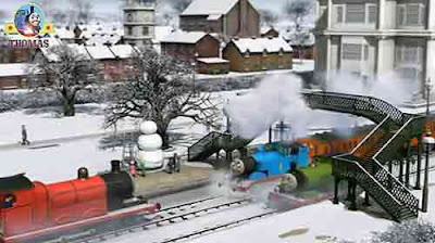 Thomas tanks best friends train James and Percy the train were having a big frosty the snowman party