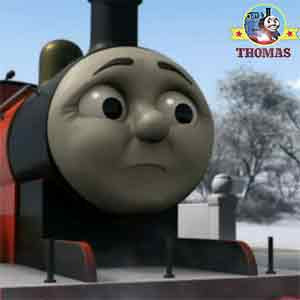 Percy the small engine and red train James the tank engine looked sad farmer McColl lost his big hat