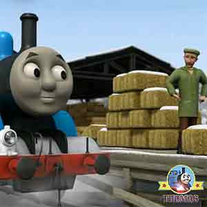 Thomas the tank engine rocketed to old farmer McColl snow frozen farm yard Farmer and sheep dog