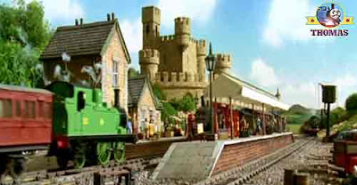 Traveling to Scottish Lord Callan castle station troublesome trucks and train Percy the green engine