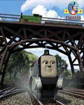 Thomas tank and his friends story shiny big silver Spencer tank engine from the mainland railroad