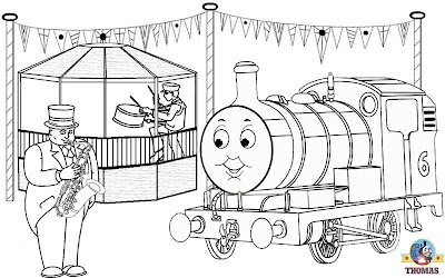 Thomas the tank engine Percy and the bandstand coloring Island of Sodor carnival brass band concert