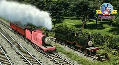 Thomas and friends James the pink engine puffed up to a junction beautiful Emily train in a siding