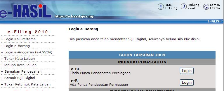 Tips mengisi borang e-filing Income Tax LDHN