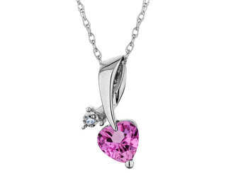Created Pink Sapphire Heart Pendant with Diamond
