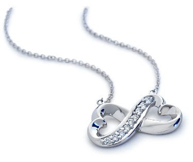 White Gold Diamond Infinity Heart Pendant