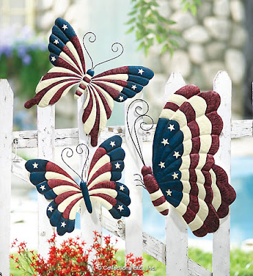 American Patriotic Butterfly Outdoor Fence Decor
