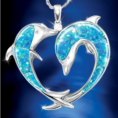 Dolphin Necklace on Moonlit Kiss Dolphin Art Pendant Necklace In This Pendant Dolphin