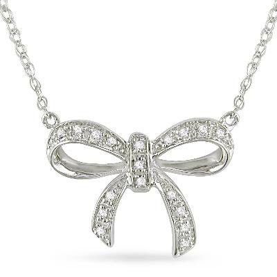 Diamond Accent Bow Pendant