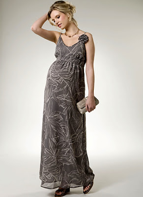 Printed Maxi Dress with Corsage